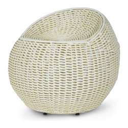 Palecek - Outdoor Open Weave Wicker Swivel Stool, White - Powder-coated metal frame is intricately hand-woven with high quality all-weather synthetic wicker and peel. Suitable for outdoor use. 360 degree swivel stool.