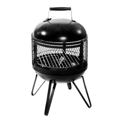 Oakland Living - Junior Chimenea Fire Pit w Full-View Grill & - Finish: BlackMade of cast iron
