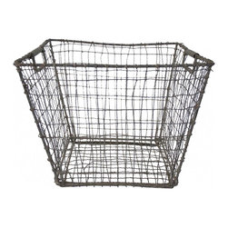 Wire Mussel Basket - A  great vintage wire mussel basket found in France....unique find! LARGE size, sturdy handles, twisted wire  and industrial appeal make it a must have.