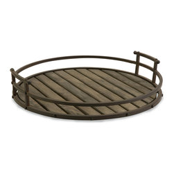 iMax - Carolyn Kinder Vermont Iron and Wood Tray - Inspired by the sustainable wineries in Vermont, the iron and wood Vermont tray has the personality and character of the oak barrels used for aging the finest port wines. Stylish, industrial 100% Wrought iron tray by IMAX.