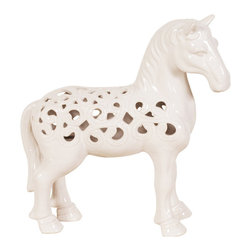Prince Charming's White Horse - Who needs Prince Charming when you have his white horse? This lovely ceramic horse statue features a lattice cut-out design and is finished in a glossy white glaze that will keep this creature stoic and forever-after on any surface in your room.
