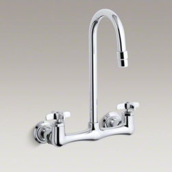 KOHLER - KOHLER Triton(R) double cross handle utility sink faucet with gooseneck spout - Seamlessly combining functionality with style, the Triton utility sink faucet features sturdy solid brass construction, one-piece ceramic valves that resist debris and hard water buildup and ergonomic handle rotation that provides on/off water control wit