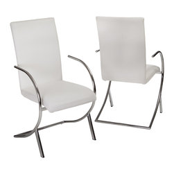 Great Deal Furniture - Prima White Leather Side Chairs (Set of 2) - Dine in complete modern elegance with the Prima Leather Side Chair. Simply stunning, this modern dining chair has a sleek yet luxurious look that will effortlessly enhance your home. The perfect curve of its seat and legs creates a chair that is both functional and visually stunning. Use several of these chairs around your dining table for comfortable, impressive seating at any meal.