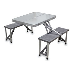 Picnic Time - Aluminum Picnic Table - Gray - Picnic Time's portable Aluminum Picnic Table has a retro look all its own with a Formica table top framed in aluminum. Its sleek design is reminiscent of tables found in 1950s diners. It's a compact fold-out table with bench seats for four that you can take anywhere. The legs and seats fold into the table when collapsed so the item is easy to store and transport. It has a maximum weight capacity of 250 lbs. per seat and 20 lbs. for the table. The seats are molded polypropylene with a basket weave pattern in a neutral gray color. The frame is aluminum alloy for durability. The Aluminum Picnic Table is ideal for outdoor or indoor use, whenever you need an extra table and seats.