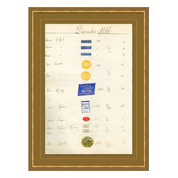 Soicher-Marin - Antique Apothocary Labels, Paris K - Giclee Print with a mid century modern antique distressed bronze wooden frame with fly speckle antique with a gold key line around image on a brown/tan mat. Includes Glass, eyes and wire. Made in the USA. Wipe down with damp cloth
