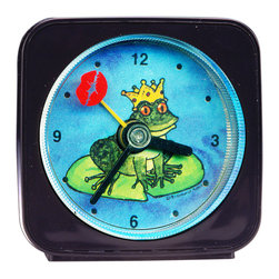 "Frog Prince Alarm Clock - Our alarm clocks are our most popular item. Great for kids or adults, our designs can't help but make you smile. On our Frog Prince Alarm Clock, the second hand is a lipstick kiss which floats around the frog as it counts the seconds. Each 2.25"" alarm clock comes in a gift box and includes a free battery. Made in the USA. (Be sure to look for our Frog wall clock, night light and magnets, too!)"