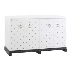 """Bungalow 5 - Bungalow 5 Barcelona Large Cabinet - Bold metallic style defines the Bungalow 5 Barcelona large cabinet. Nickel nailheads and silver ring pulls punctuate the white lacquer and gray wood chest for contemporary edge. 59.5""""W x 16.5""""D x 33""""H; Gray ceruse oak base; Four doors"""