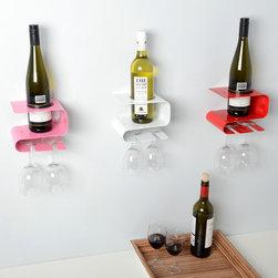 Metal Wine Racks - Slim metal wine rack designs for one bottle and two glasses.