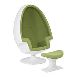 Modway - Alpha Lounge Chair in Green - The unconventional shape and construction of the Alpha Shell Egg Chair makes it perfect for sound isolation, a cozy quiet area to sit and read. Its chamber-like shape and upholstered interior cancels out most outside noise, providing a unique environment for meditation, relaxation or just getting away from it all.
