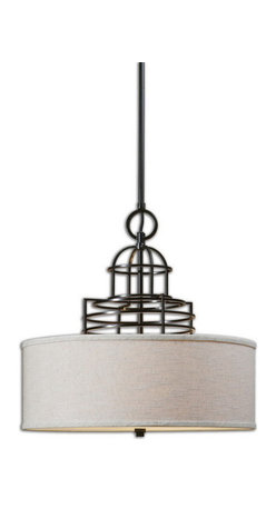 Uttermost - Uttermost 22021  Cupola 3 Light Drum Shade - Architectural metal upper dome structure in rich weathered bronze featuring a warm beige linen hardback shade, and frosted glass diffuser.