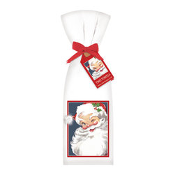 Mary Lake-Thompson Ltd. - Winking Santa Towel, Set of 2 - Whether you've been naughty or nice, chances are you'll have some holiday messes to clean up. Santa's here to help, via these cotton flour sack towels designed by artist Mary Lake-Thompson. Give as gifts or keep for yourself.