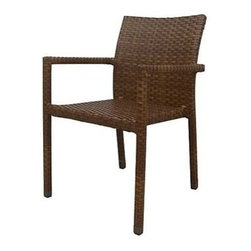 Panama Jack - Panama Jack St. Barth's Stackable Dining Arm Chair - Escape to your very own Caribbean paradise with The St Barth's collection by Panama Jack. The Arm Chair incorporates an extruded aluminum frame with an exclusive thick woven wicker fiber from Viro and is stackable for easy storage. Due to the thick woven wicker fiber cushions are not needed. They can be purchased separately in Sunbrella fabric for all year round outdoor use and they come in a variety of colors and patterns to match your outdoor decor. It can be paired with other items in this collection to create the ultimate Caribbean paradise in your home patio. The St. Barth's collection by Panama Jack incorporates an extruded aluminum frame with an exclusive thick woven wicker fiber from Viro. The arms on the lounge chair and loveseat are thick and provide a comfortable arm rest. Fast drying cushions with outdoor polyester fabric are included and are suitable for all year around use outdoor.More than three decades ago the Original Panama Jack suncare products were quietly introduced on Florida's beaches. Word gets around in a beach town. Like the sand in their shoes and the sunset memories in their minds loyal locals and visitors alike took Panama Jack home with them to Main Street America and to the world. Since those early days Panama Jack established a following that extends far beyond stretches of pure white sand. Made with Love Care and Pride since 1974 Panama Jack is committed to bringing the feeling of escape fun adventure and the lifestyle of the tropics to people everywhere. They will continue to deliver products that provide you with even more freedom to enjoy what's most meaningful to you and your family. Features include Outdoor Stackable Arm Chair Constructed of extruded aluminum frame that will not rust Weather and UV resistant Fully Assembled Stackable Design Can be used indoors or outdoors. Specifications Finish: Brown Pine Construction Material: Extruded Aluminum Frame w/ Viro Sy