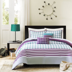ID-Intelligent Designs - Intelligent Design Lacey 5-piece Teal Comforter Set - The Lacey comforter set features a teal and white checkered print,and horizontal purple stripes that will bring youth and vibrancy to your bedroom.