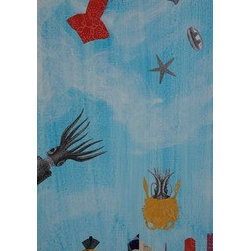 Peek-A-Boo Squid (Original) by Mickey Bond - A lyrical mixed media painting in which squid fly over an imagined city sky line.