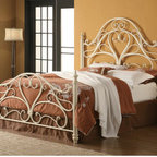 "Wildon Home � - Arched Queen Headboard and Footboard - Introduce elegance to your home decor with this queen-size metal headboard and footboard. Features an ornate style with intricate curves and a center heart-shaped design. Turned finials cap end posts with distinction. The egg shell white finish offers beautiful style that will blend beautifully with a variety of existing home decors. Showcase classic sophistication by welcoming this queen-size metal headboard and footboard bed into your home. Features: -Material: Metal.-Mattress sold separately.-Headboard and Footboard only.-Distressed: No.-Frame Included: No.Dimensions: -Overall Dimensions: 63"" H x 88"" W x 62"" D.-Overall Product Weight: 75 lbs."