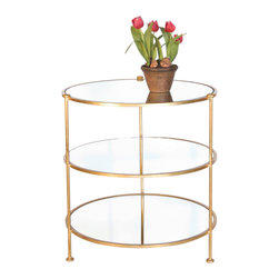 """Worlds Away - World Away Three Tier Table Side Table-Available in Two Different Colors, Gold L - This classic yet modern circular three tier table is a great utility piece that can go anywhere in any kind of home decor. The table features mirrors on each shelf. Measures 25"""" in diameter X 28""""H. The table is available in a Gold Leaf or Nickel Plated finish."""