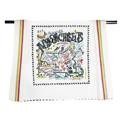 CATSTUDIO - Massachusetts State Dish Towel by Catstudio - This original design celebrates the state of Massachusetts from Nantucket to the Berkshires to Boston.  This design is silk screened, then framed with a hand embroidered border on a 100% cotton dish towel/ hand towel/ guest towel/ bar towel. Three stripes down both sides and hand dyed rick-rack at the top and bottom add a charming vintage touch. Delightfully presented in a reusable organdy pouch. Machine wash and dry.