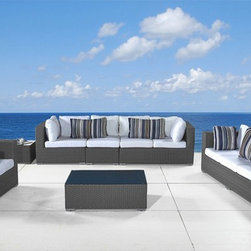 Outdoor Furniture - modern design grey wicker deep seating patio set - Maestro by Beliani