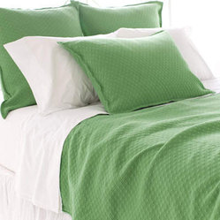 Diamond Grass Green Matelasse Coverlet