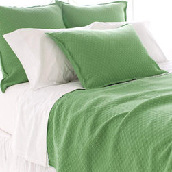 Pine Cone Hill - Diamond Grass Green Matelasse Coverlet - Diamond Grass Green Matelassé Coverlet