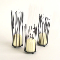 Danya B - 3 Piece Set of Nature Inspired Organic Willow Iron Candleholder, Black - This gorgeous 3 Piece Set of Nature Inspired Organic Willow Iron Candleholder, Black has the finest details and highest quality you will find anywhere! 3 Piece Set of Nature Inspired Organic Willow Iron Candleholder, Black is truly remarkable.