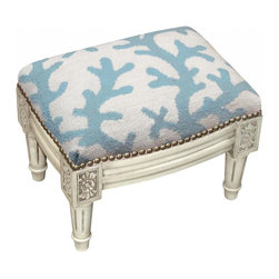 123 Creations - Coral Wool Needlepoint Wooden Footstool. Antique white wash. - This hand-crafted footstool is upholstered with hand-needlepoint. An unique and  beautiful accent furniture piece. Solid wood frame is hand-carved with hand-applied brass nail heads.