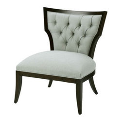 705 CHAIR  Wesley Hall - Traditional tufting and wood frame meet contemporary lines in this elegant occasional chair. Perfect for any room in the house and available in a range of fabrics, including leather.