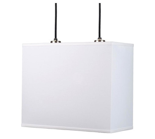 Lights Up - Rex 16 in. Pendant Lamp (Faux Bois Light) - Fabric: Faux Bois Light. Bulbs not included. Requires two 75 watt bulbs. UL listed. Wired for permanent mounting. Voltage: 120 Volts. Brushed nickel finish. 16 in. L x 7 in. W x 13 in. H