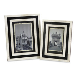 Imax - iMax Bella Bone Inlay Frames - Set of 2 X-2-80991 - A set of two photo frames made with bone inlay make the perfect desk, shelf or vanity accessory. White bone inlay with black geometric pattern gives these frames a simple modern appeal. For a coordinated look, display with the Bella bone inlay boxes.