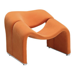 Modway Furniture - Modway Cusp Lounge Chair in Orange - Lounge Chair in Orange belongs to Cusp Collection by Modway Start at fresh beginnings with the Cusp modern lounge chair. Made of dense foam padding and fabric upholstery, Cusp is a transition piece unlike anything else on the market today. The craftsmanship is readily evident in this piece that more resembles a display of organically expressive art, than it does a chair. But the practical elements of Cusp are just as delightful as the artistry. Sit deeply as you spread your arms out, and relax your neck and shoulder muscles, as you bask at the horizon line ahead. Set Includes: One - Cusp Lounge Chair Lounge Chair (1)