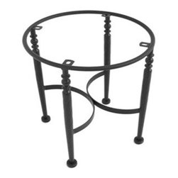"""Meadowcraft - Meadowcraft Wrought Iron End Table Base for Granite Tops - Meadowcraft is a leading domestic manufacturer of quality wrought iron furniture and cushions located in Wadley Alabama.  With traditional and post war modern styles utilizing subtle understated designs Meadowcraft furniture is an excellent addition to any home. Whether choosing the deep seating comfort of a cushioned loveseat or the comfortable durability of a commercial grade mesh bistro chair you are invited to relax in all of Meadowcrafts products.  Meadowcraft takes the """"made in the U.S.A."""" label seriously and strives to exceed its perceived responsibilities to their customers and community.  Features include Made of extremely durable wrought iron material Hand formed by skilled craftsmen to insure the strongest furniture in the industry Offered in wide selection of powder coated finishes manufactured to prevent rust Round slick shape."""