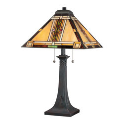 Quoizel - Quoizel TFNO6325VA Navajo 2 Light Table Lamps in Valiant Bronze - Fans of Native American and South Western-styling will love the Navajo Collection. Enhancing its classic design appeal is the understated art glass that is hand-assembled using the copper foil method developed by Louis Comfort Tiffany plus a Valiant Bronze finish. Available in a piccolo pendant, semi-flush mount, pendant, table lamp and floor lamp.