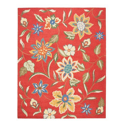 "Safavieh - Country & Floral Blossom 8'9""x12' Rectangle Rust - Multi Color Area Rug - The Blossom area rug Collection offers an affordable assortment of Country & Floral stylings. Blossom features a blend of natural Rust - Multi Color color. Hand Hooked of Wool the Blossom Collection is an intriguing compliment to any decor."