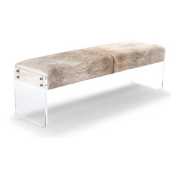 Kathy Kuo Home - Winona Hollywood Regency Modern Deco Acrylic Hide Bench - Combining modern and rustic, this eclectic bench will have even the most diverse groups sitting in comfortable agreement. Each seat is upholstered with unique hide, varying in color and shade from cream to grey. Clear, polished acrylic forms the base of the bench and lends an open, airy feel to this stylish seating. This item is made to order - please allow for a 3 - 4 week lead time for production.