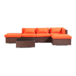 "Kardiel - Modify-It Outdoor Furniture Patio Sectional Chaise Poipu 6pc Set Rattan, Orange - Poipu 6-piece set is a salute to clean contemporary style. The 6-piece Modify-It Poipu collection features an open-ended ultra stylish chaise sectional. A matching tempered glass coffee table grounds the setting. Extraordinary design stimulates the conversationalist and lounger alike. The flexible nature of Modify-It modular allows for customized reconfiguring of the layout at will. The design origins are Clean European. The elements of comfort are inspired by the relaxed style of the Hawaiian Islands. The Aloha series comes in many configurations, but all feature a minimalist frame and thick, ample modern cube cushions. The back cushions are consistent in shape, not tapered in to create the lean back angle. Rather the frame itself is specifically ""lean tapered"" allowing for a full cushion, thus a more comfortable lounging experience. The cushion stitch style utilizes smooth and clean hand tailoring, without extruding edge piping. The generously proportioned frame is hand-woven of colorfast, PE Resin wicker. The fabric is Season-Smart 100% Outdoor Polyester and resists mildew, fading and staining. The ability to modify configurations may tempt you to move the pieces around... a lot. No worries, Modify-It is manufactured with a strong but lightweight, rust proof Aluminum frame for easy handling."
