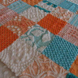 Vintage Chenille Baby Quilt, Aqua and Orange by Crafts Crafty Deb - This bright quilt has so many textures! I love the dimension and the color palette of aqua and tangerine.