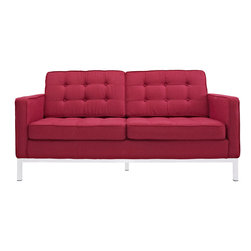 LexMod - Florence Style Loveseat in Red Tweed - The mid-20th century was a time when hopes were at their highest. Technological developments were bustling forward, and the new world was just barely visible in the distance. But this time also presented a dilemma of sorts. The test of this forthcoming era was to be whether industry would foster comfort or stifle it.