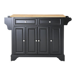 Crosley - Crosley KF30001BBK LaFayette Natural Wood Top Kitchen Island in Black Finish - Constructed of solid hardwood and wood veneers, this kitchen island is designed for longevity. The Beautiful raised panel doors and drawer fronts provide the ultimate in style to dress up your kitchen. Two deep drawers are great for anything from utensils to storage containers. Behind the four doors, you will find adjustable shelves and an abundance of storage space for things that you prefer to be out of sight. Style, function, and quality make this kitchen island a wise addition to your home.