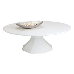 Sunpan - Sanara Coffee Table, High Gloss White - Large - A rare mix of graceful elegance and contemporary design. This stunning coffee table is beautifully finished in a pure high gloss white with an octagonal base that is sure to impress. No assembly required.