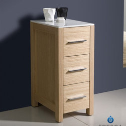 "Fresca - Fresca Torino 12"" Light Oak Bathroom Linen Side Cabinet - The crisp white ceramic top on the Fresca Torino Bathroom Linen Side Cabinet, part FST6212LO, gives it a clean look and blends well with the light oak finish. This bathroom side cabinet features three spacious drawers for your linens or other necessities, and its compact size at W 12"" x D 17 3/4"" x H 28 1/8"" makes it ideal for smaller rooms. Increase the height of this linen storage cabinet up to 3.25 inches by adding the optional tall legs so you can easily pair it with other pieces in the Torino line of bathroom fixtures and furniture."