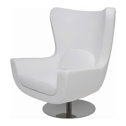 """Nuevo Living - Ilan Modern Lounge Chair by Nuevo Living, White - The Ilan high-back, modern lounge chair by Nuevo Living is as aesthetically grandiose in style as it is comfortable. Its surround, made of CFS foam and upholstered in a soft, supple, Naugahyde, exudes comfort and high-fashion. The chair sits proudly on a stainless steel base that pivots. An ideal addition to any contemporary or modern space, Ilan is available in black, grey, white and red. The chair measures 42.5"""" high by 37"""" wide by 22.5"""" deep. Its seat is 16.25"""" high and 22.5"""" deep. Weight 43 pounds, Ilan will be delivered to you by freight carrier."""