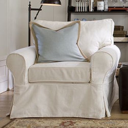 PB Basic Slipcovered Armchair Slipcover, Box, Performance Canvas White - Designed exclusively for our PB Basic Collection, these easy-care slipcovers have a casual drape, retain their smooth fit, and remove easily for cleaning. Care varies depending on {{link path='pages/popups/fab_leather_popup.html' class='popup' width='720' height='800'}}fabric type{{/link}}. This item can also be customized with your choice of over 90 custom fabrics and colors. For details and pricing on custom fabrics, please call us at 800.840.3658 or click Live Help above. All slipcover fabrics are hand selected for softness, quality and durability. This is a special-order item and ships directly from the manufacturer. To see fabrics available for Quick Ship and to view our order and return policy, click on the Shipping Info tab above.