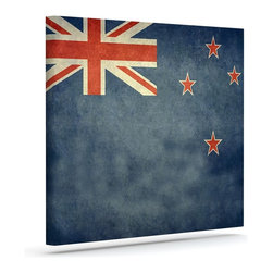 """Kess InHouse - Bruce Stanfield """"Flag of New Zealand"""" Blue Wrapped Art Canvas (30"""" x 24"""") - Bring your outdoor patio to life with this artistic outdoor canvas wrap featuring gorgeous artwork by KESS InHouse. These canvases are not only easy to hang and remove but also are the perfect addition to your patio collection. These canvases are stretched around a wooden frame and are built to withstand the elements and still look artistically fabulous. Decorating your patio and walls with these prints will add the splash of art and color that is needed to bring your patio collection together! With so many size options and artwork to choose from, there is no way to go wrong with these KESS Canvas Wraps!"""