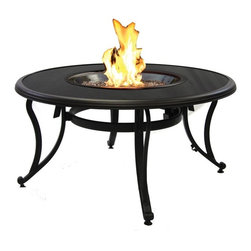 Outdoor Greatroom - Black Glass Chat Height Fire Pit Table - A beautiful table to sit around with your family and friends, the black glass round outdoor gas fire pit table is both versatile and stylish. The GLASS-42-K features a powder coated aluminum frame in Dora Brown, and a tempered 42 inch round black glass top. This fire pit table comes with a recessed black glass cover for the round 20 inch stainless steel Crystal Fire Burner. This 60,000 BTU burner is made from high quality stainless steel and includes tempered, tumbled Diamond colored glass, an LP hose and regulator, a metal flex hose, a gas valve, and a push button igniter - also includes a conversion kit for natural gas. With just a push of a button, a beautiful clean-burning fire appears atop a bed of highly reflective glass fire gems - adjust the flame height to your desired setting and enjoy the magic and ambience of a warm glowing fire. This fire pit table is UL listed to guarantee safety and quality. 1 Year Warranty. Optional accessories include: Vinyl Cover (CVRCF42); Square / Round Glass Guard (GLASS-GUARD-20; GLASS-GUARD-20-R); Log Set (CF20-LOG-SET); Lazy Susan Ring (LAZY-SUSAN-RING); Ice Bowl (CFP42-K5).