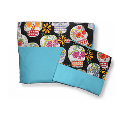 Room Magic - Day of the Diva Full Sheets/Pillowcase Set - Teen girls will die for this chic Full Sheets/Pillowcase set in aqua color. Top sheet and pillowcase has colorful border print of flowered skulls and glitter against a black background.