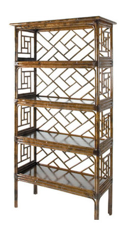 Chinese Chippendale Étagère - Charming and beautiful, this Chinese chippendale-style étagère with lovely fretwork details is perfect for showcasing vintage and Asian-inspired objects.