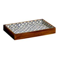Eternal Twilight Decorative Tray, Small - This sophisticated bone and resin tray adds timeless polish to any soiree. A distinctive way to serve champagne or cocktails at any celebration, its motif is inspired by the decorative latticework that adorned the lavish monuments and palaces of the Mughal Empire. Bring the same timeless elegance into your home with our Eternal Twilight Decorative Tray.