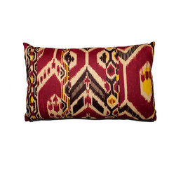 Designer Fluff - Purple Ikat Pillow, 15x25 - Warm tones and an African-inspired motif let you display your unique flair. The pillow is handmade of designer fabric, printed on both sides with the pattern expertly matched at the knife-edges seams.