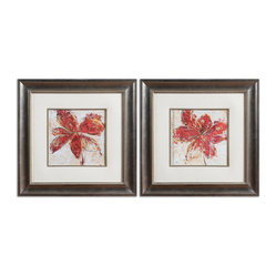 Uttermost - Floral Gesture Framed Art, Set of 2 - Brighten your room and your spirits with these happy, colorful floral prints. Framed under glass to avoid fading, the beige linen mats and silver leaf base frame set these prints off to their very best. You can hang them vertically or horizontally depending on your wall size.