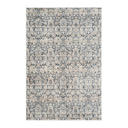 Safavieh - Lucas Vintage Inspired Rug, Navy / Creme 9' X 12' - Flowers and vines are gracefully scattered across the grey and ivory Leyla rug from the Vintage collection by Safavieh.  Power loomed of organic viscose yarns in a low cut pile, Leyla recreates the beautiful patina of a worn heirloom rug.